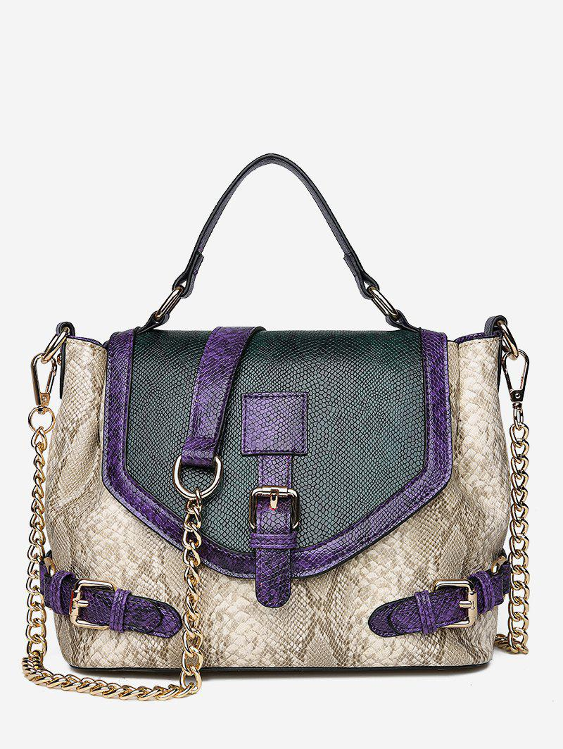 Trendy Artificial Snake Leather Tote Bag