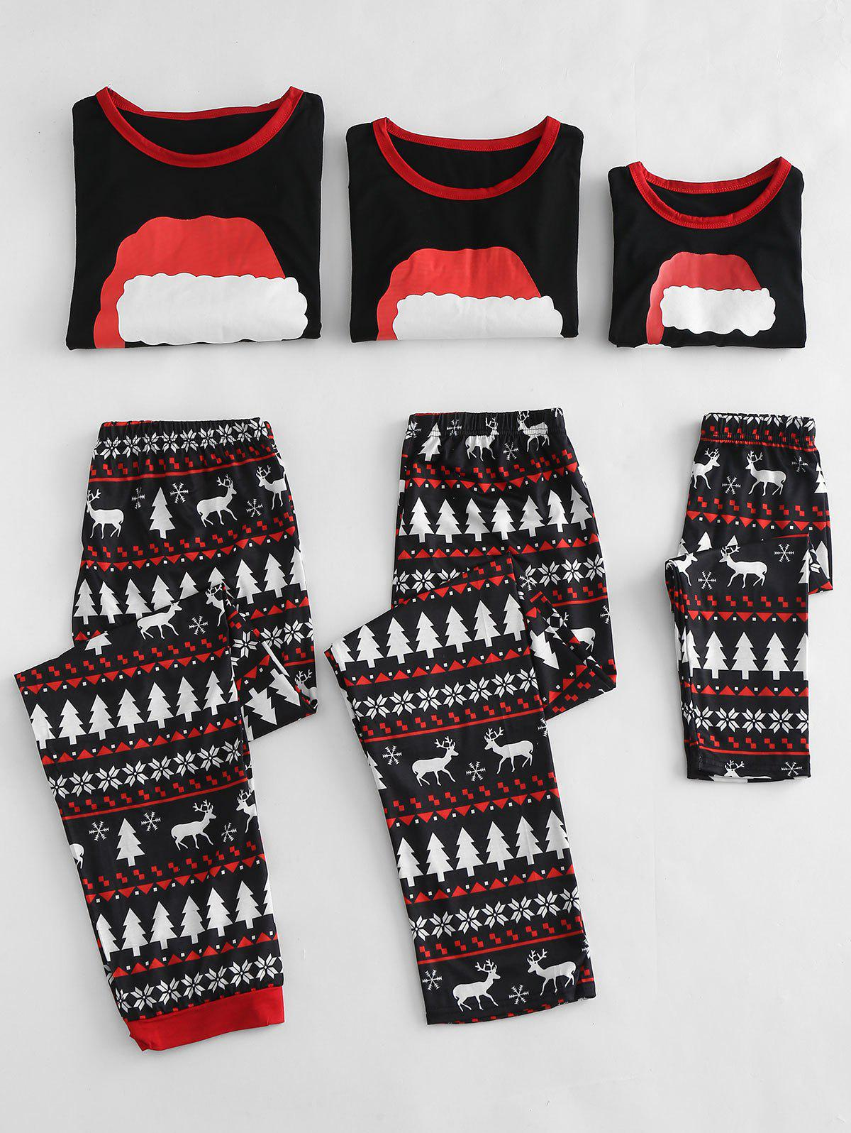 Chic Christmas Hat Printed Family Pajamas Sets