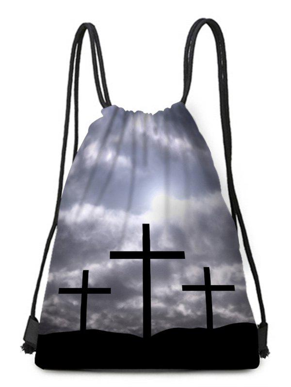 Affordable Crucifix Pattern Drawstring Christmas Gift Bag