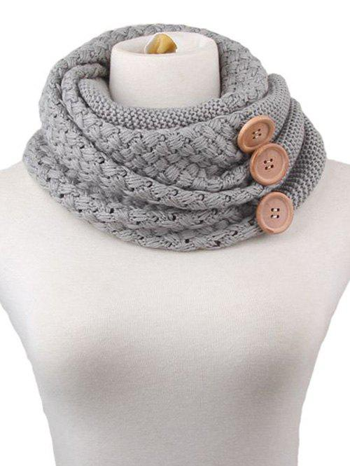 Shop Winter Button Knitted Warm Infinity Scarf