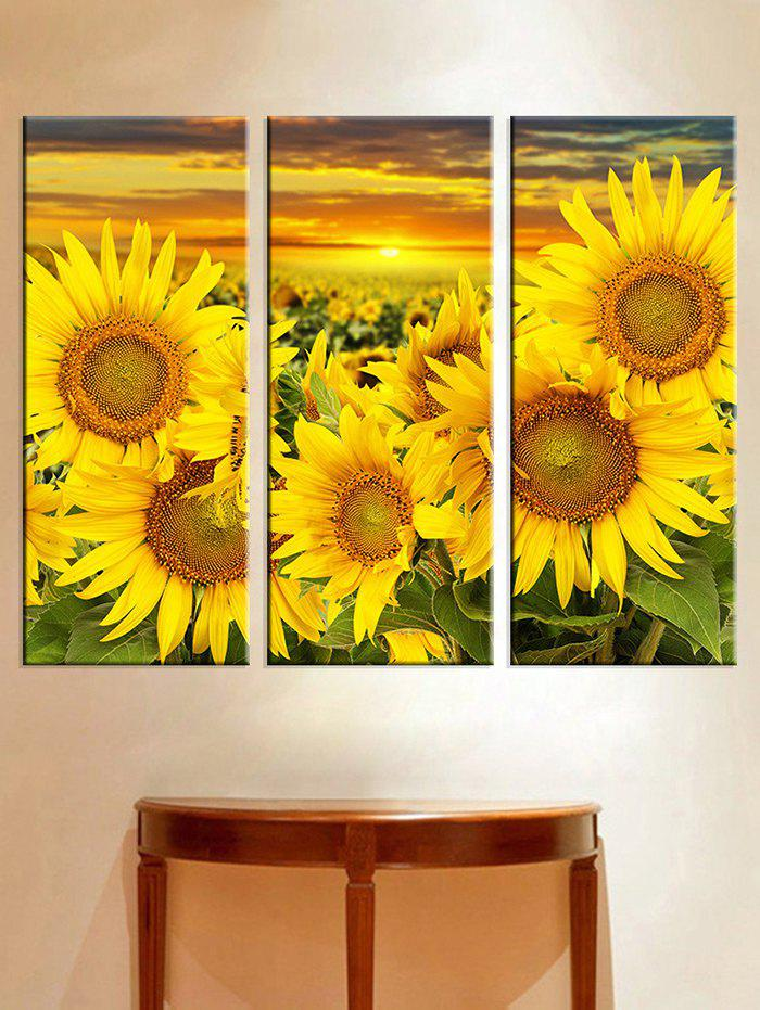 Store Sunset Sunflower Print Unframed Split Canvas Paintings