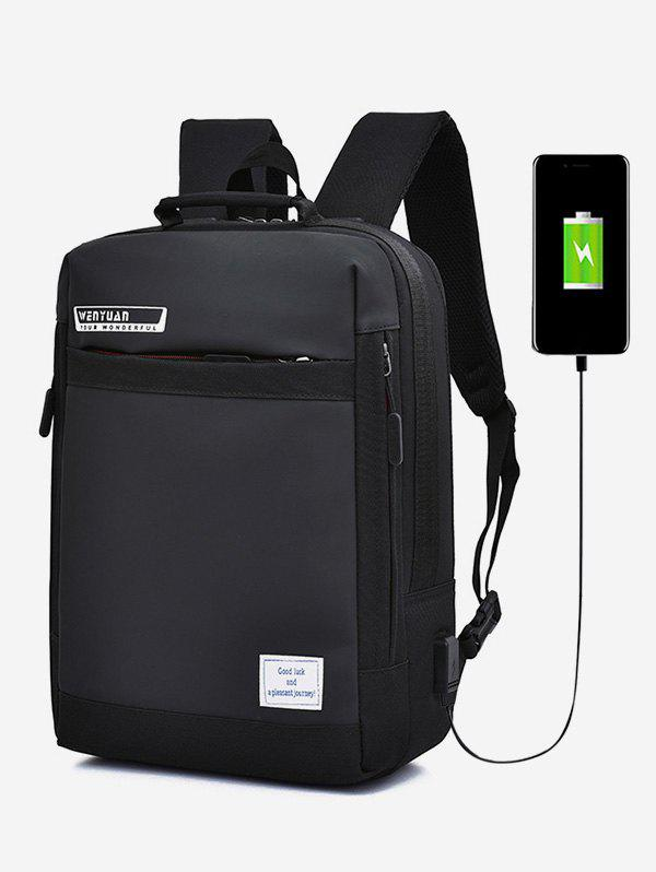 Outfits Letter Pattern USB Charging Anti-Theft Backpack