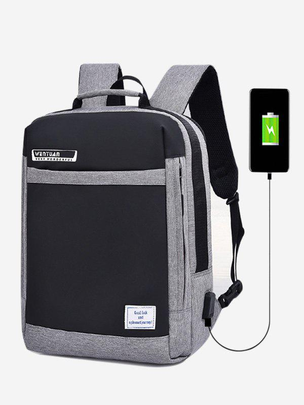 Shop Letter Pattern USB Charging Anti-Theft Backpack
