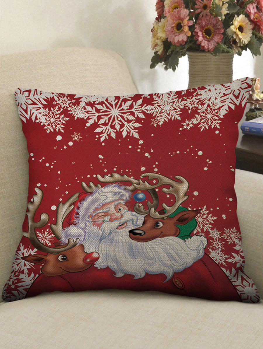 Fancy Father Christmas Deer Snowflake Print Pillowcase