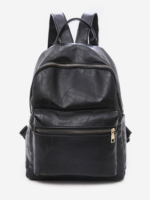 Store Solid Color PU Leather Design Backpack