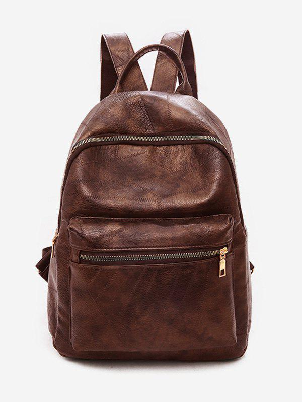 Chic Solid Color PU Leather Design Backpack