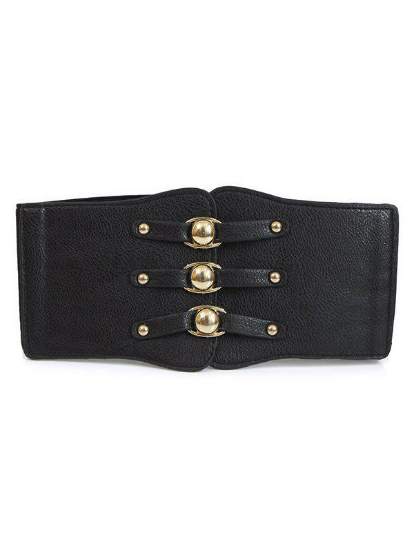 Online PU Leather Elastic Button Alloy Wide Belt