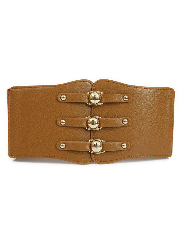 Affordable PU Leather Elastic Button Alloy Wide Belt