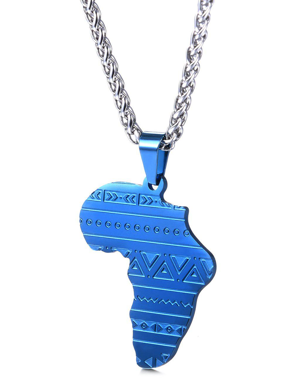 Shop Stainless Steel Map Engraved Pendant Necklace