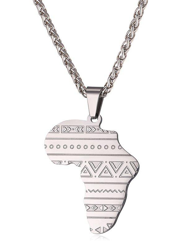 Discount Stainless Steel Map Engraved Pendant Necklace