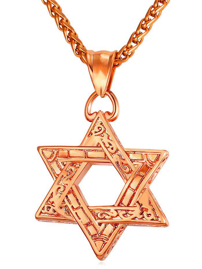 New Hollow Out Hexagram Engraved Drop Necklace