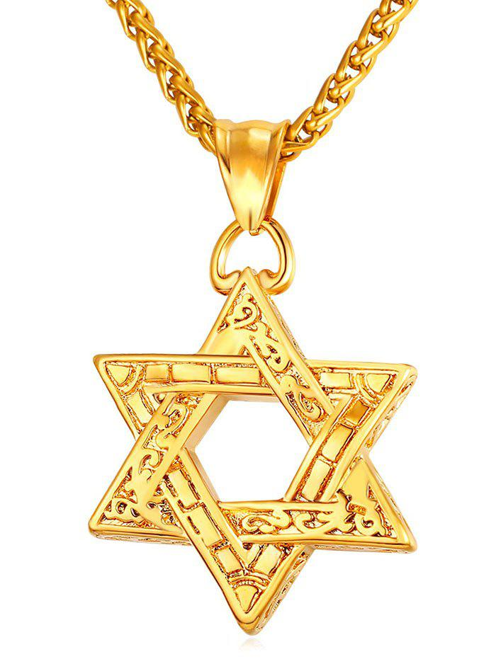 Affordable Hollow Out Hexagram Engraved Drop Necklace