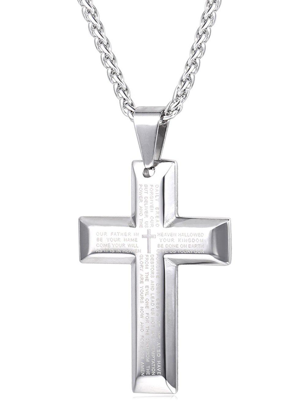 Shops Stainless Steel Letter Print Cross Necklace