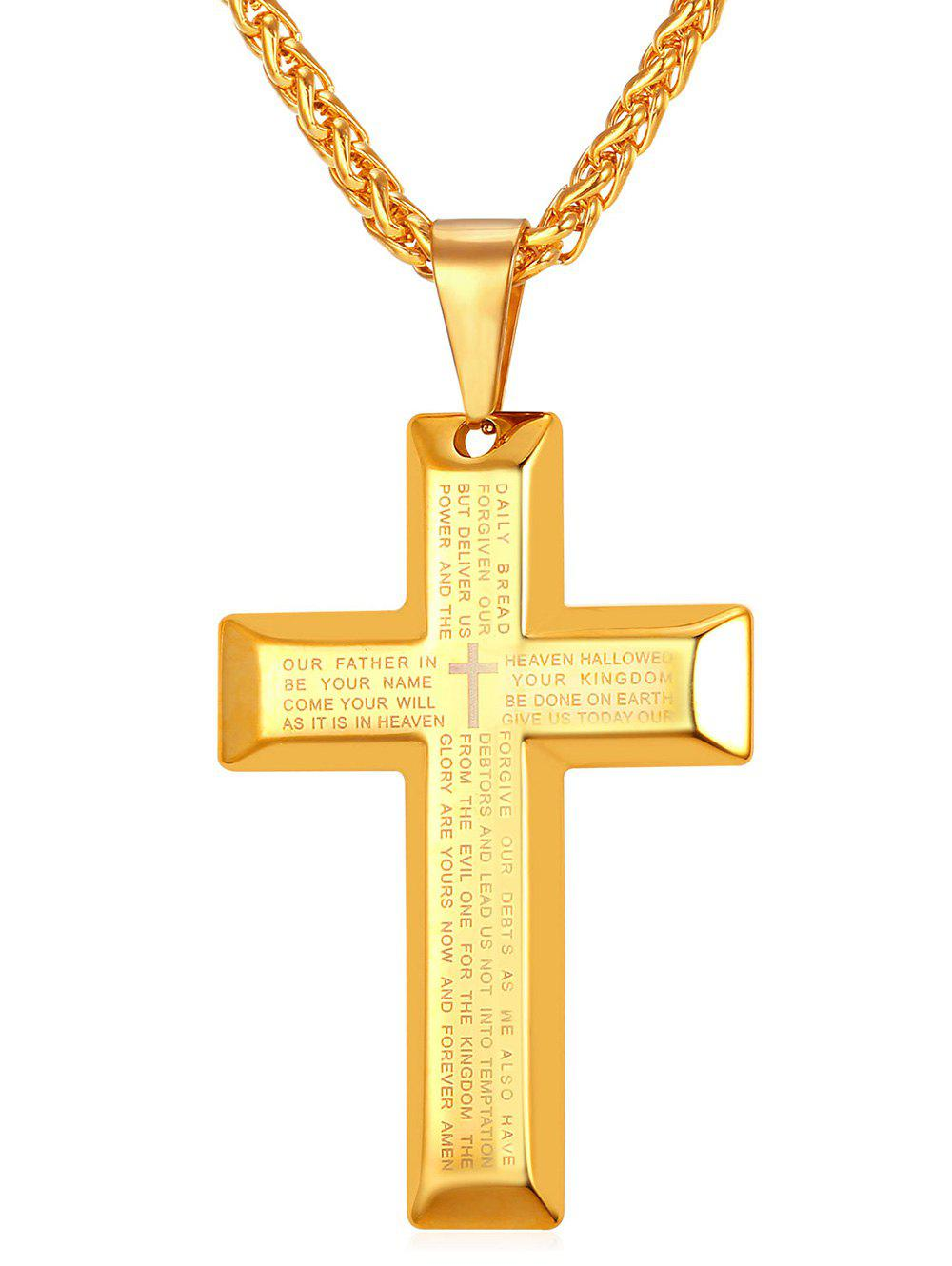 Affordable Stainless Steel Letter Print Cross Necklace