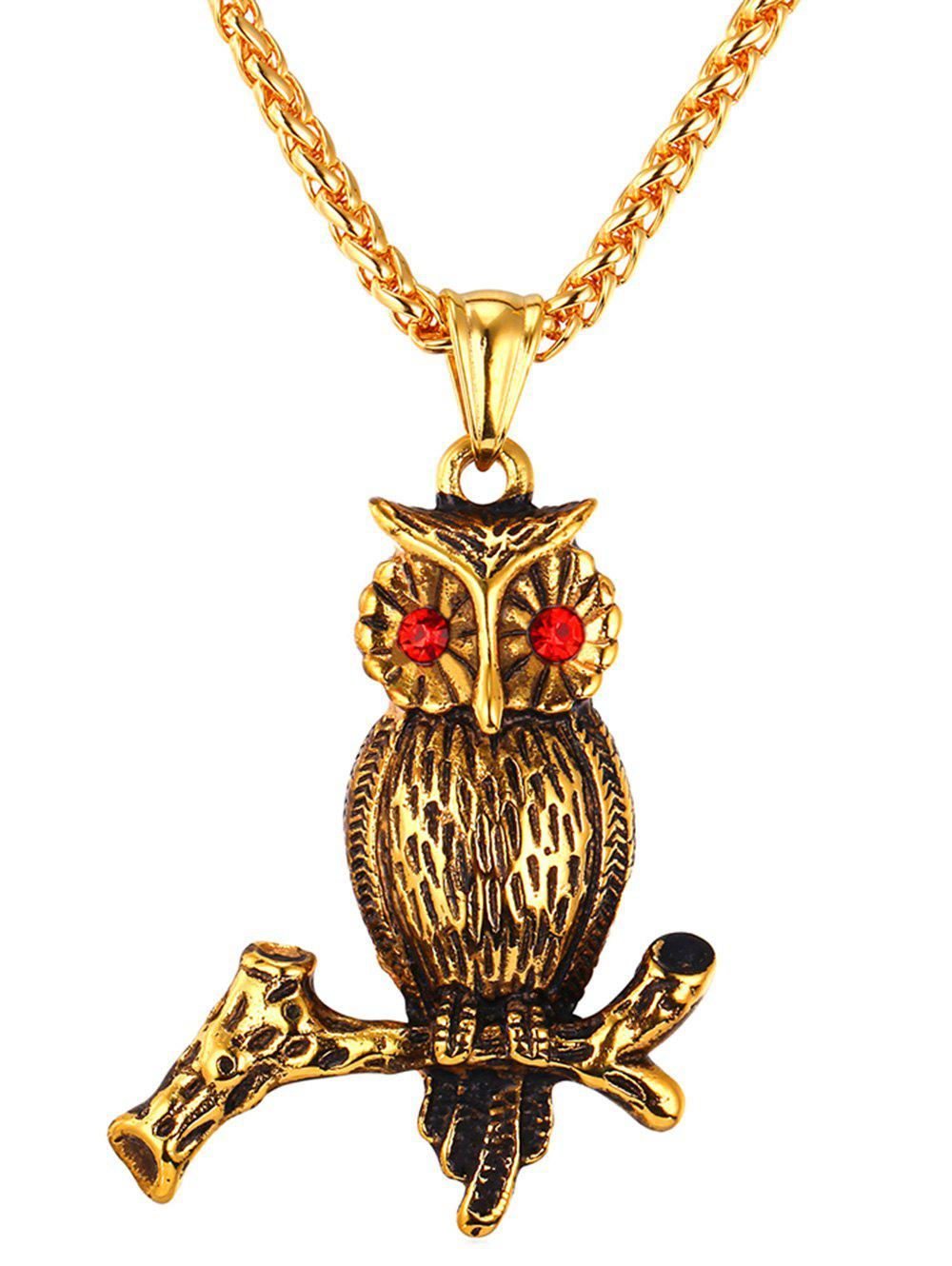 Discount Faux Crystal Decor Owl Stainless Steel Necklace