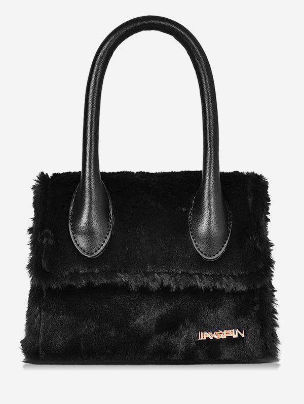 Sale Fluffy Leather Letter Printed Tote Bag