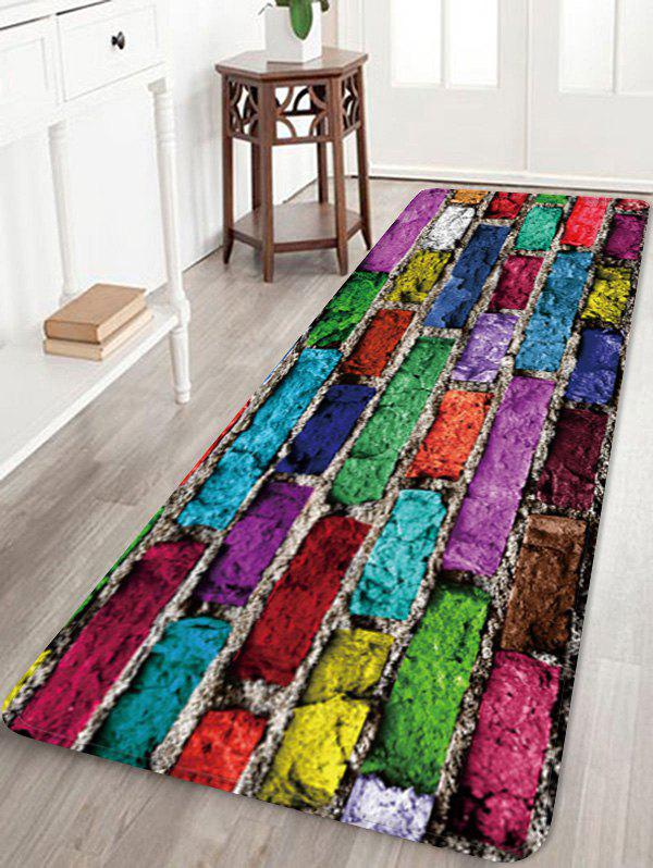 Outfits Colorful Brick Wall Pattern Water Absorption Floor Rug