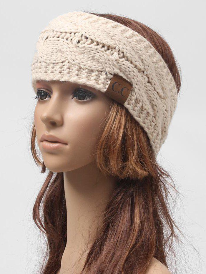 Fashion Winter Knitted Letter Label Wide Headband