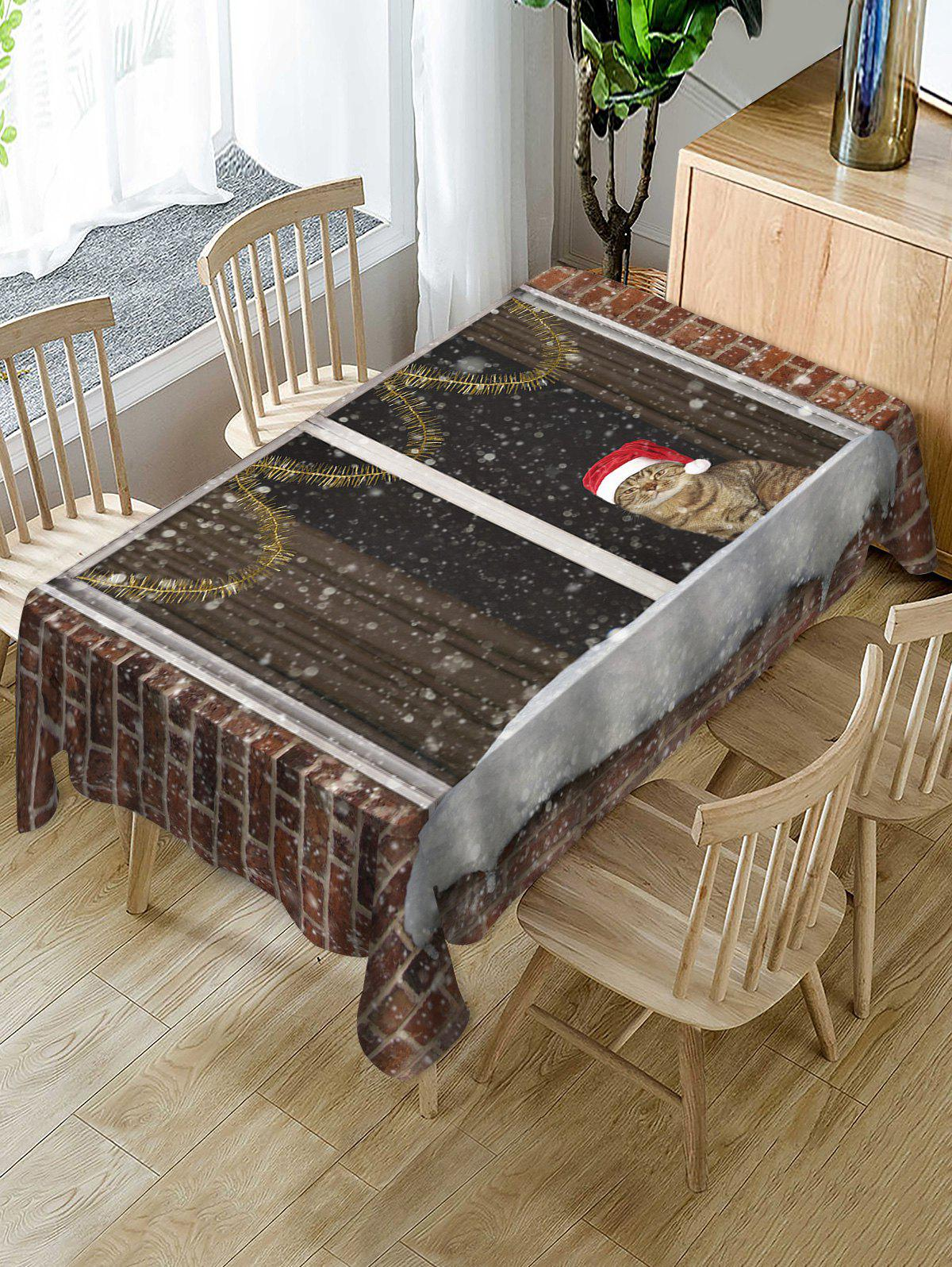 Store Christmas Cat Fabric Waterproof Table Cloth