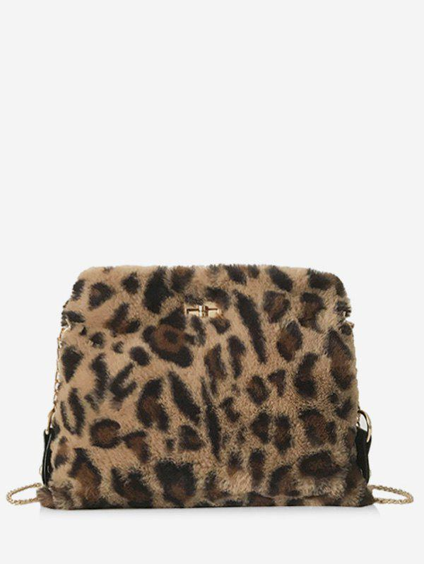 Affordable Fluffy Leopard Design Crossbody Bag