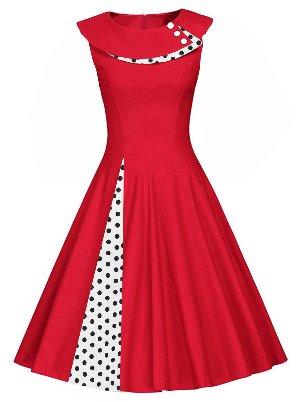 Cheap Plus Size Vintage Polka Dot Buttons Sleeveless Flare Dress