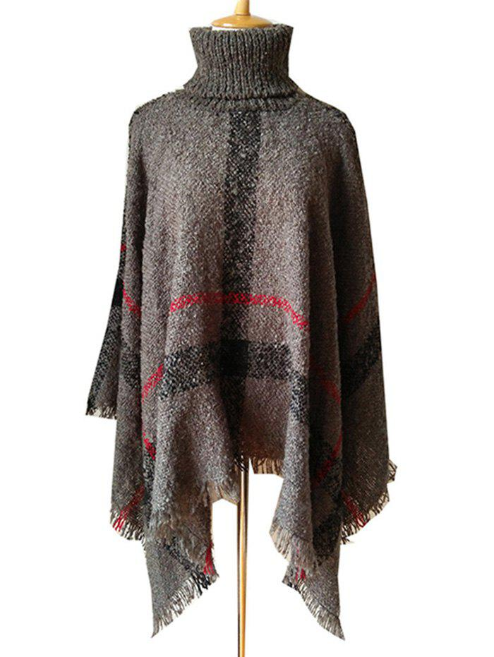 Outfits Fringed Plaid Pattern Pullover Collar Shawl Sweater