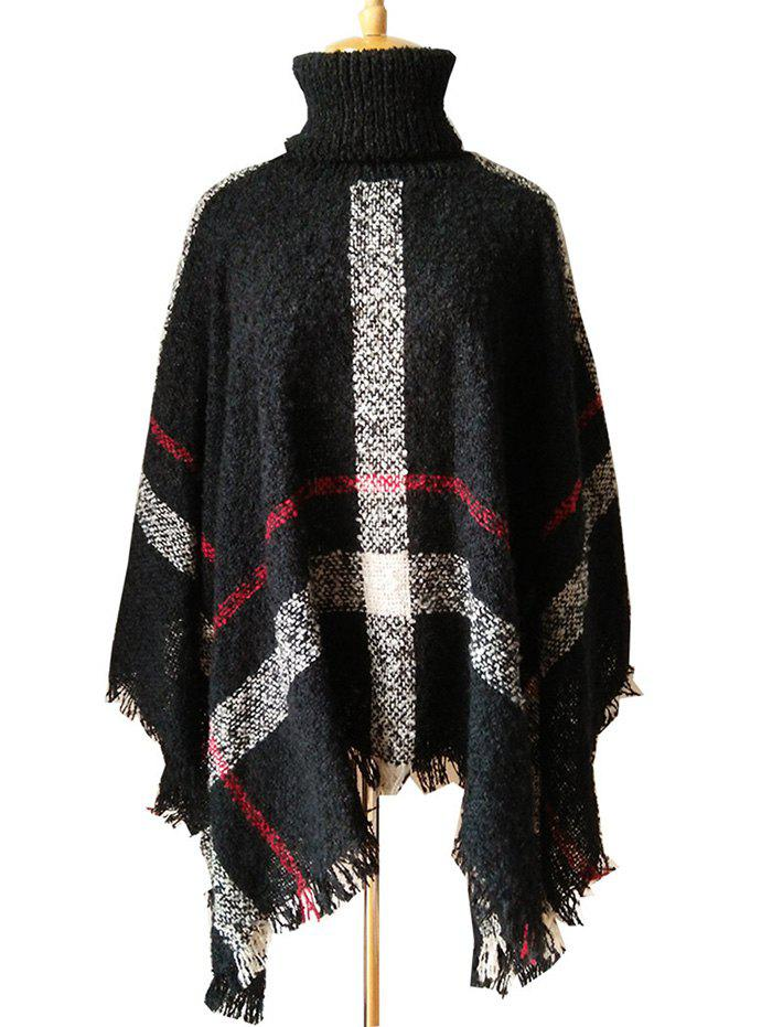 Store Fringed Plaid Pattern Pullover Collar Shawl Sweater