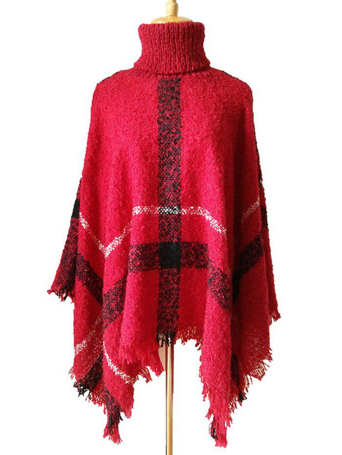 Online Fringed Plaid Pattern Pullover Collar Shawl Sweater