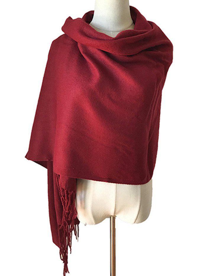 Chic Elegant Solid Color Fringed Winter Scarf Shawl