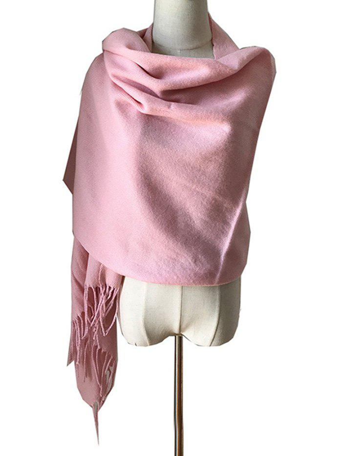 Store Elegant Solid Color Fringed Winter Scarf Shawl
