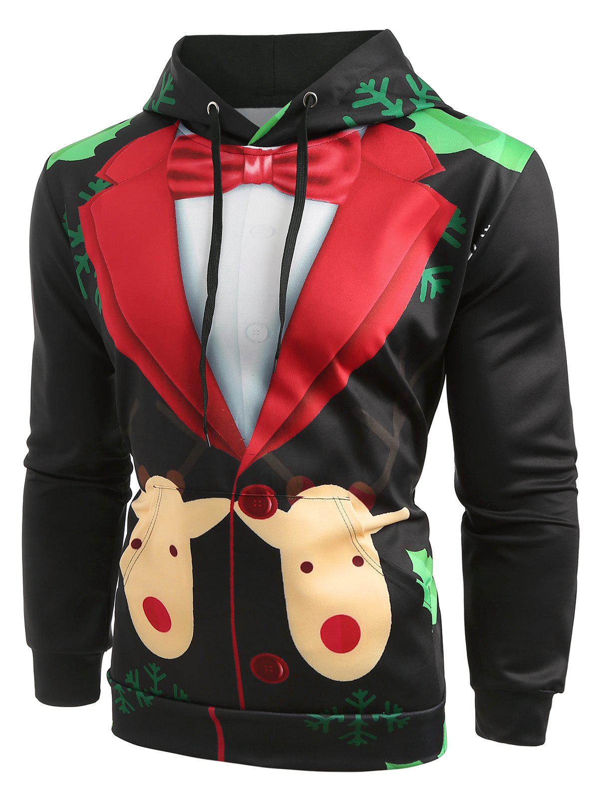 Cheap Christmas Faux Suit Print Pullover Hoodie