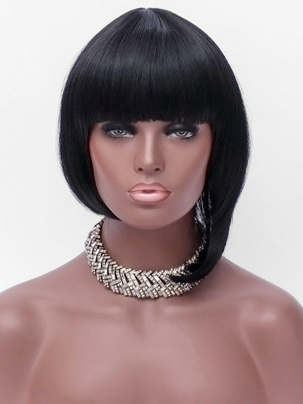 Online Full Bang Short Asymmetric Straight Bob Synthetic Wig