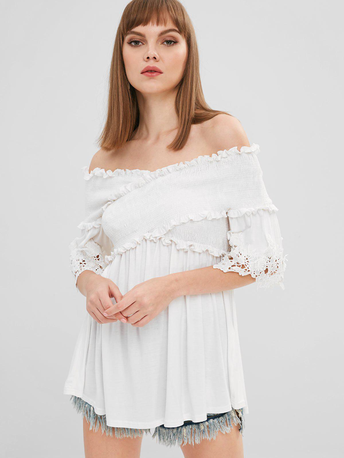 Store Off Shoulder Appliques Criss Cross T-shirt