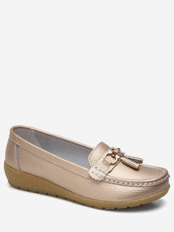 Chic Metal Detail Wedge Heel Loafer Shoes