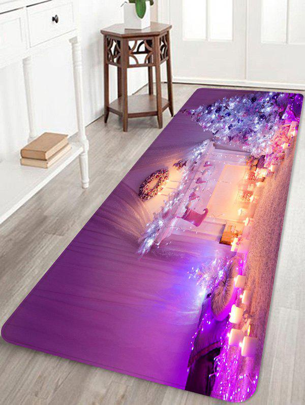 Online Christmas Tree Candle Printed Non-slip Area Rug