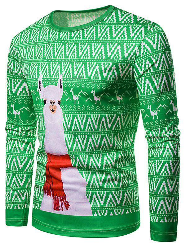 Outfits Christmas Alpaca Printed Long Sleeves T-shirt