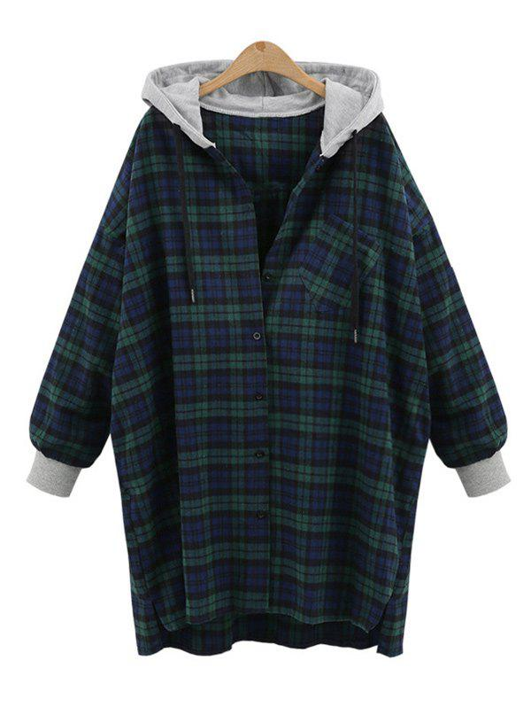 Chic Plus Size Tartan Hooded Coat