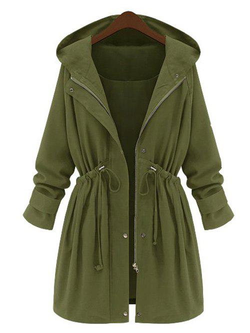 Chic Plus Size Drawstring Waist Longline Coat