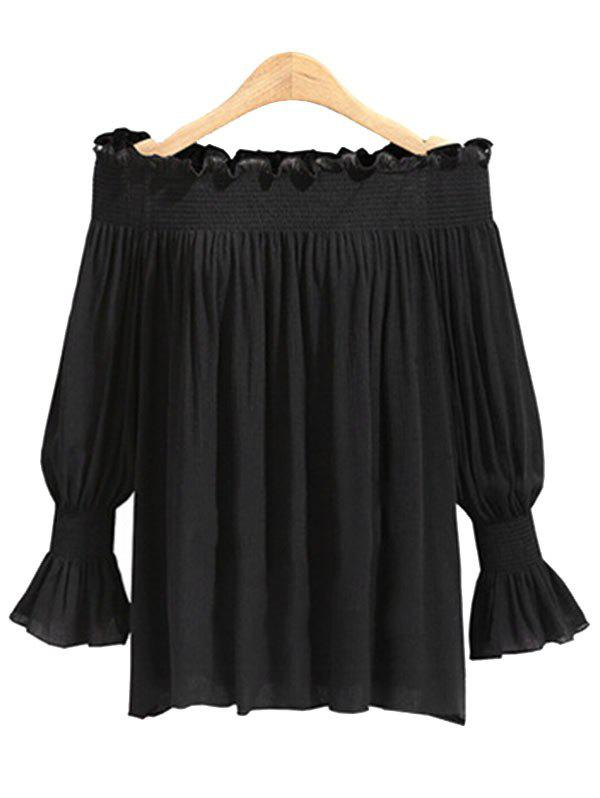 Outfit Plus Size Ruffle Trim Off The Shoulder Blouse