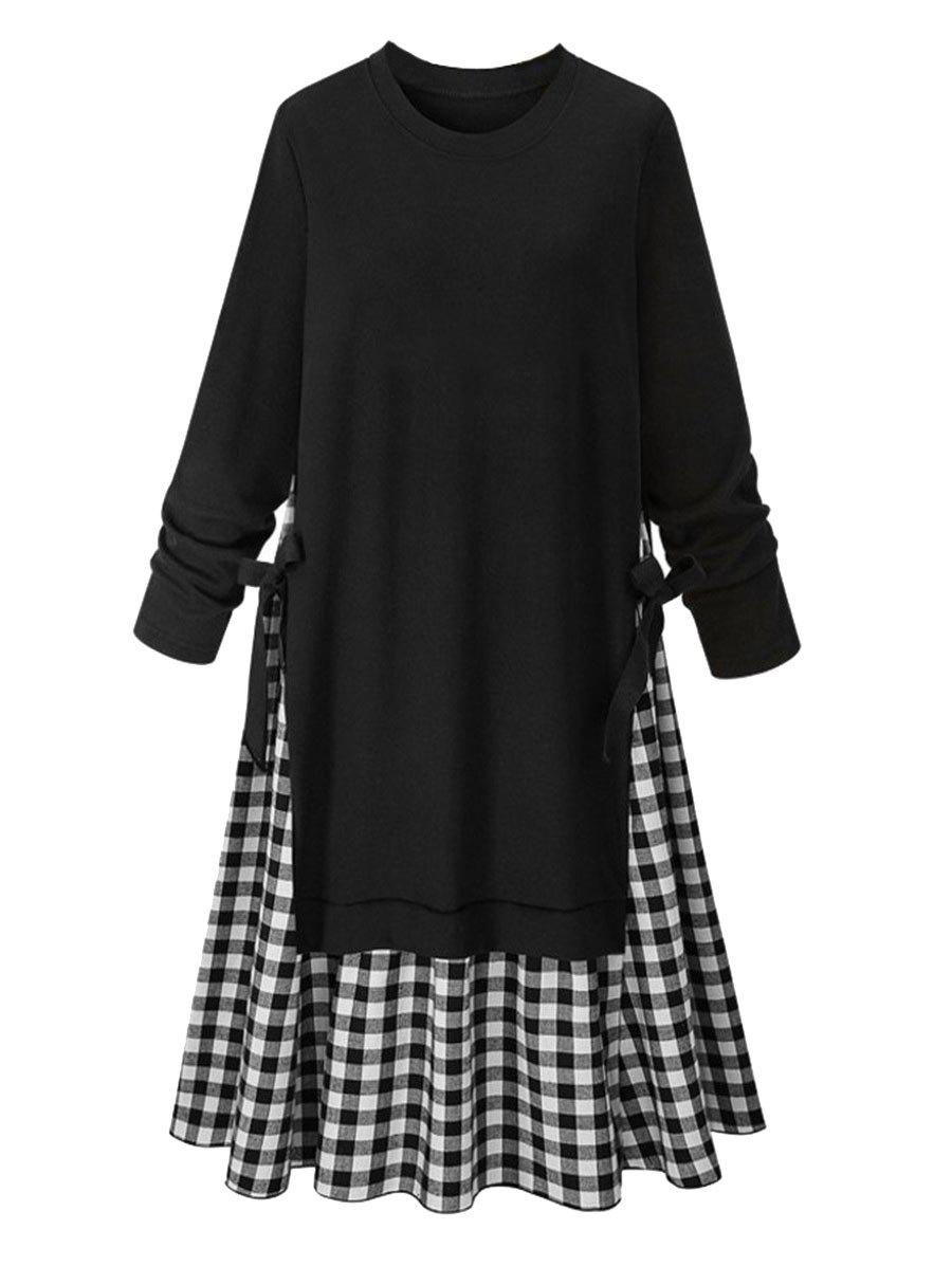 Chic Plus Size Round Neck Gingham A Line Dress