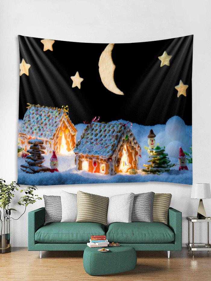 Fancy Christmas Night House Print Tapestry Wall Hanging Art Decor