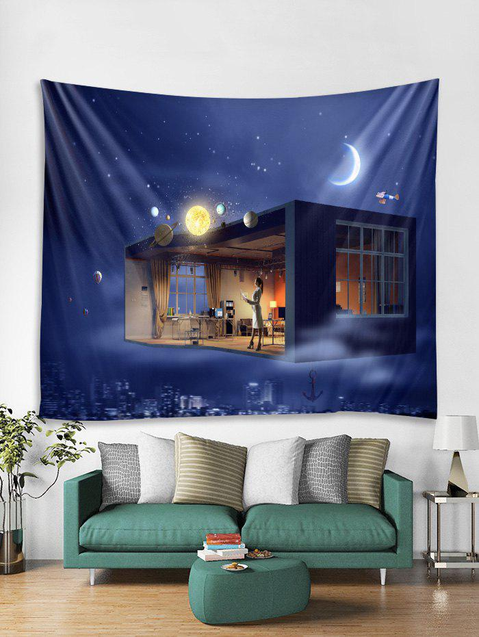 Best Universe Space House Print Tapestry Wall Hanging Decoration