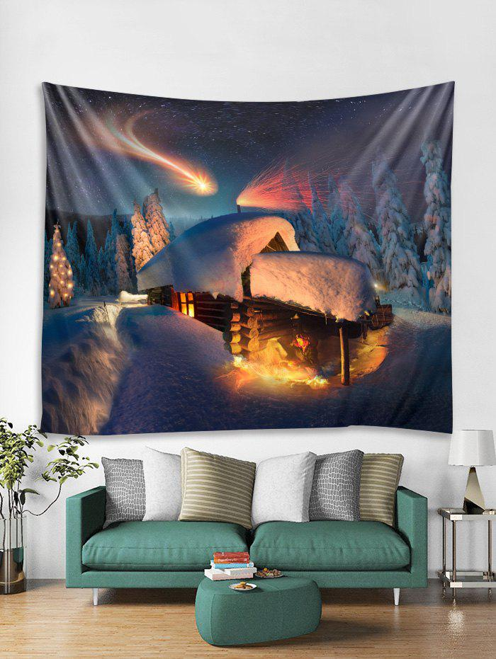 Chic Christmas Forest House Print Tapestry Wall Hanging Decoration
