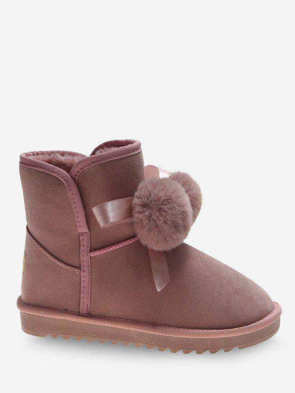 Shop Bow and Fuzzy Ball Decorative Snow Boots