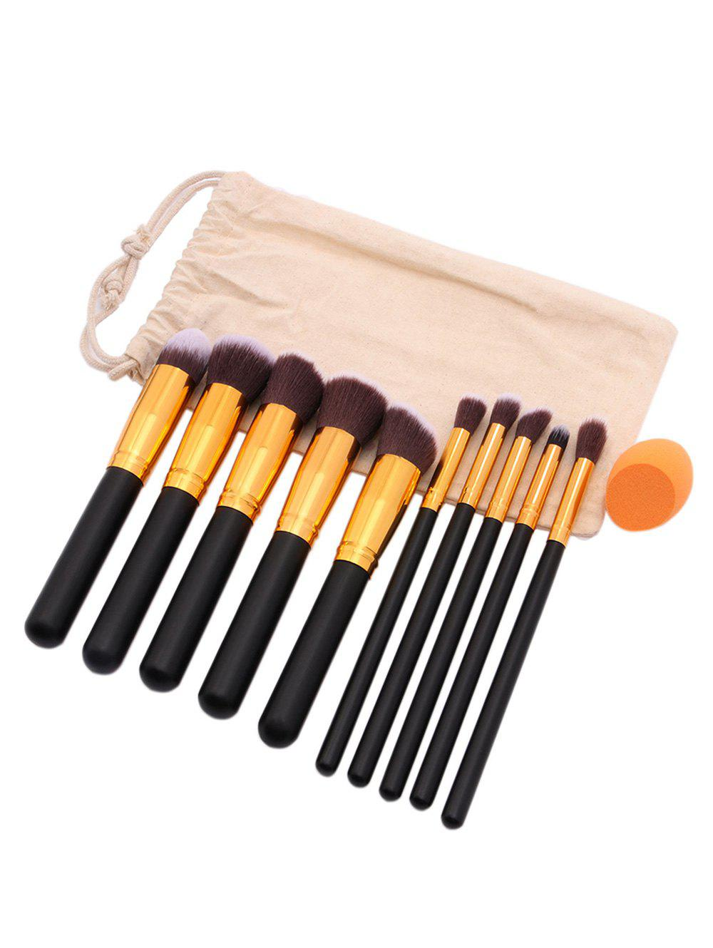 Sale Cosmetic 10Pcs Soft Hair Makeup Brush Set Makeup Sponge with Bag