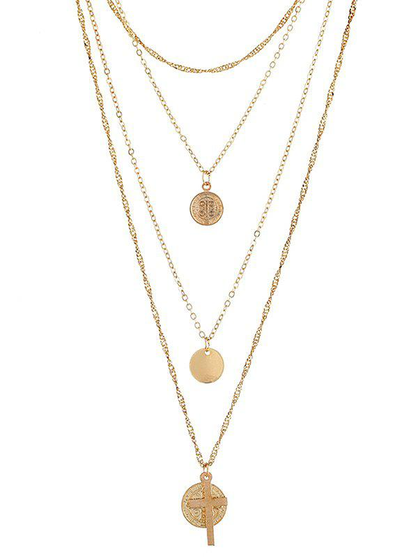 Outfit Layered Round Shape Cross Design Necklace
