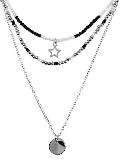 Affordable Layered Beaded Star and Round Shape Necklace