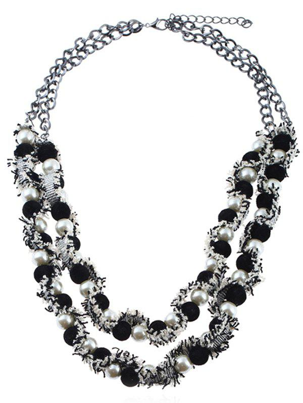 New Statement Layered Artificial Pearl Ball Necklace