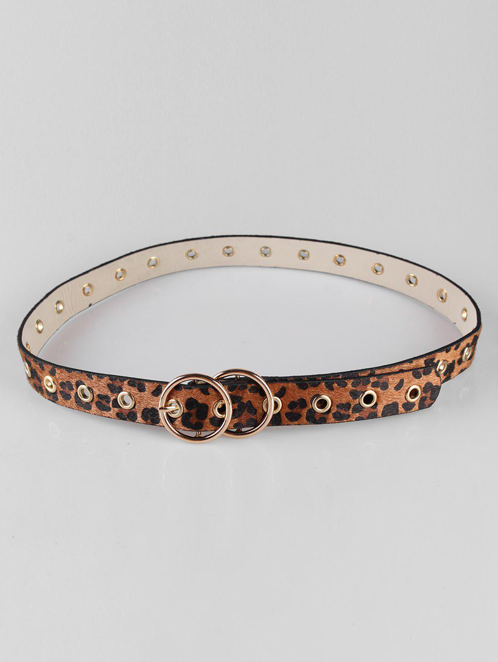 Hot Leopard Print Round Buckle Skinny Belt