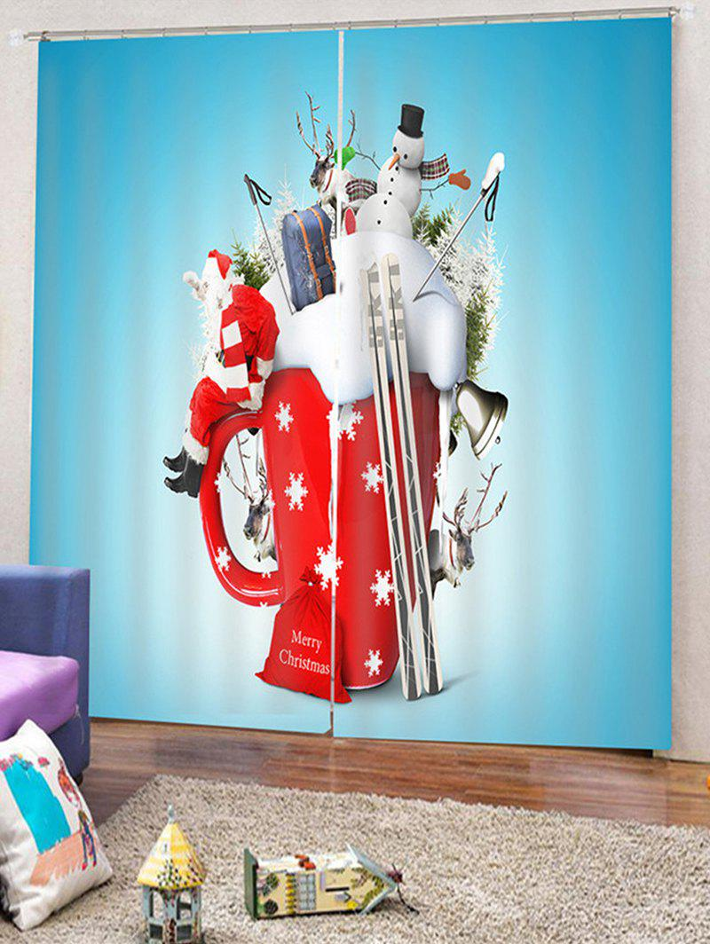 Fancy 2PCS Father Christmas Deer Snowman Window Curtains